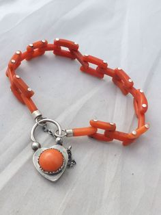 Fine Victorian carved coral silver bracelet with padlock clasp