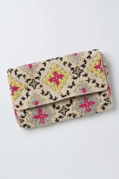 Such pretty detailing Tetrapoint Embroidered Clutch Uk Fashion, Fashion Bags, Fashion Trends, Moda Mania, Anthropologie Uk, Folk Embroidery, Embroidered Clothes, Clutch Purse, Purses And Handbags