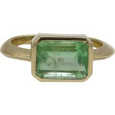 14kt Yellow Gold and Emerald Ring, 2.90 ctw rubylane.com @rubylanecom