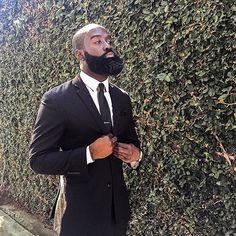 Black Men With Beards™ ( Black Men Beards, Handsome Black Men, Sexy Beard, Epic Beard, Beard Styles For Men, Hair And Beard Styles, Beard Game, Beard Rules, Bald With Beard