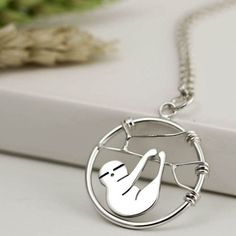 Sterling Silver Sloth Necklace - Sloth Jewellery - Sloth Gift - Pendant Necklace - Handmade in England Cute Jewelry, Jewelry Gifts, Handmade Bracelets, Handmade Jewelry, Bridal Jewelry Sets, Animal Jewelry, Turquoise Jewelry, Gift For Lover, Cute Gifts