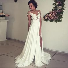 A-Line Side Split Appliques Lace Chiffon Boho Wedding Bridal Gown - Power Day Sale Wedding Dress Chiffon, Applique Wedding Dress, Lace Chiffon, Mermaid Dresses, Prom Dresses, Wedding Dresses, A Line Bridal Gowns, Dress Sketches, Formal Evening Dresses