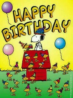 Happy Birthday - Snoopy, Woodstock and Friends Wearing Birthday Hats With Balloons Floating Nearly Happy Birthday Snoopy Images, Happy Birthday For Her, Happy Birthday Pictures, Happy Birthday Funny, Happy Birthday Messages, Happy Birthday Quotes, Happy Birthday Greetings, Peanuts Happy Birthday, Birthday Hats