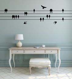 Perched Birds Wall Sticker - Sitting & Flying Birds - Bird Wall Decal   Flying birds wall decor   Flock of birds on wire wall decal by FixateDesigns on Etsy