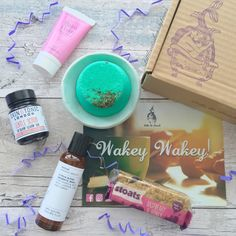 "This month's Little bit Lavish box is gorgeous! Loving the ""Wakey Wakey"" theme. As soon as I opened the box I could smell the goodies.   I received: Balm Balm face cream ⭐️ miss patisserie shower steamer ⭐️ stoats oat bar ⭐️ skin & tonic Scrub ⭐️ evolve aromatic wash ⭐️ Megan Louise ceramic dish ⭐️ Full review coming soon but for now if you like the look of this box use my code for 10% off your first box LAVISHLMBB"