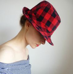 Vintage Red and Black Checked Fedora by VanillaGrass on Etsy, $14.00