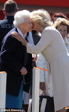 Camilla lays a hand on the Queen's shoulder as she greets her with a kiss. The Queen hasn't missed a Royal Windsor Horse Show in 72 years, since it began in 1943 as a fundraising event. Love this picture for Queen Elizabeth II. Hm The Queen, Royal Queen, Her Majesty The Queen, Prince Phillip, Prince William And Kate, Commonwealth, Camilla Duchess Of Cornwall, English Royal Family, Camilla Parker Bowles