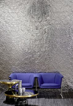 Impressive ornamental patterns express their sense of style and their interpretation of two movements on thermoformed 3D wall covering. #Wallcovering from Celebrity