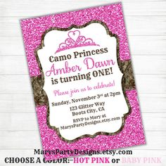 Printable hunting birthday invitation for girl pink camo on etsy items similar to camo princess birthday invitation hunting girl glitter pink first camouflage baby shower invites sweet 15 16 printable on etsy filmwisefo