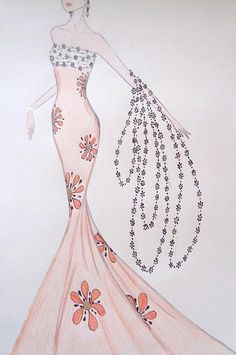 Dazzling Daisies, by Carolyn Corretti Dress Design Drawing, Dress Design Sketches, Fashion Design Sketchbook, Fashion Design Drawings, Fashion Sketches, Dress Illustration, Fashion Illustration Dresses, Fashion Illustrations, Wedding Dress Sketches