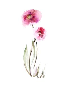Watercolor Painting Art Print of Pink Delicate Flowers, Watercolour Floral Wall art, Minimalist Art