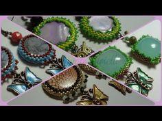 Orecchini cabochon perline e charms (beadwork) - bijoux artigianali - YouTube