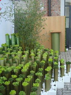 Use of tubular balustrades on slope instead of heavy planters - not so many - to replicate poles supporting the deck? Again can use for herbs etc