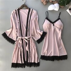 Pink Kimono Bathrobe Gown Leisure Sleep Set Sleepwear Women Robe Lace Sexy Intimate Lingerie Wedding Night Dress M-XL Cute Sleepwear, Sleepwear Women, Pajamas Women, Lingerie Sleepwear, Loungewear, Lingerie Rose, Lingerie Outfits, Pretty Lingerie, Sexy Pyjamas
