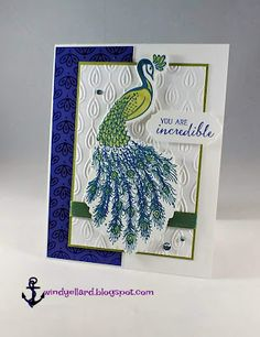 A Royal Peacock card for classes, yes please! A forth card for card classes this month. I did a little casing from Julie Gilson a. Perfect Peacock, Anna Griffin Cards, Hand Stamped Cards, Prim Christmas, Easel Cards, Stamping Up Cards, Bird Cards, Mothers Day Crafts, Sympathy Cards