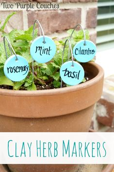 DIY Clay Herb Markers for your summer garden. via www.twopurplecouches.com