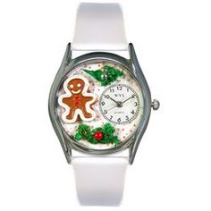Christmas Gingerbread White Leather And Silvertone Watch - http://www.artistic-watches.com/2013/01/31/christmas-gingerbread-white-leather-and-silvertone-watch-2/