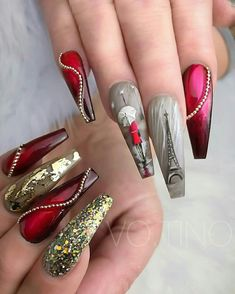 @pelikh_ ideas nails - coffin #nails #nailscoffin #coffinnails