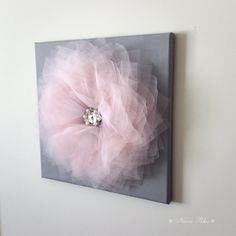 Flower Wall Art Pink and Gray Flower Decor Home Styling by NaraRha, $34.00