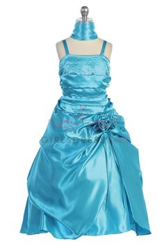 Turquoise Shiny Satin A-line Flower Girl Dress with Sparkles CD-720 CD-720 $67.95 on www.GirlsDressLine.Com