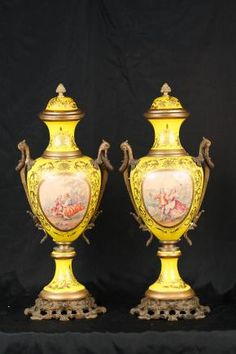 Pair Paris Sevres Porcelain Romantic Urns Vases