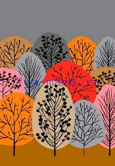Аппликация Осенний лес из цветной бумаги для детей