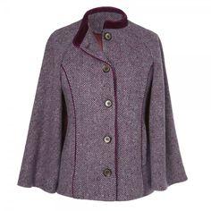 Grey and Pink Herringbone Donegal Tweed Cape Tweed Coat, Tweed Jacket, Cozy Fashion, Autumn Fashion, Women Wear, Ladies Wear, Donegal, Herringbone, Clothes For Women