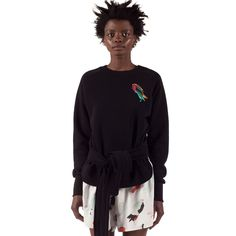 Courtney Sweatshirt is a loose cropped sweatshirt with a placement digital embroidery, long raglan sleeves and waist belt detail. Style Inspiration, Sweatshirts, Blouse, Skirts, Sleeves, Sweaters, Outfits, Shopping, Clothes
