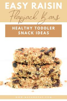 These oatmeal raisin flapjack bars are packed with flavor but take a healthy twist on the old fashioned recipe. The chewy oat snack bars are dairy free, refined sugar free, and kids gobble them up! They are an easy snack or breakfast idea for your toddler, and you can feel good knowing the oat squares are filled with healthy, all natural ingredients like rolled oats, coconut oil, dates, and more. #toddlerbreakfast #oatbars #oatmealraisin #healthytoddlersnacks Gluten Free Recipes For Kids, Baking Recipes For Kids, Baking With Kids, Gluten Free Dinner, Healthy Toddler Snacks, Healthy Meals For Kids, Healthy Breakfast Recipes, Kids Meals