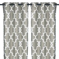 Our Gray Maxwell Curtain Panel set pairs a neutral color with a trendy quatrefoil pattern, making it a beautiful bedroom or living room addition. Geometric Curtains, Grey Curtains, Grommet Curtains, Panel Curtains, Bathroom Curtain Set, Silver Bedroom, Living Room Redo, Quatrefoil Pattern, Grey Home Decor