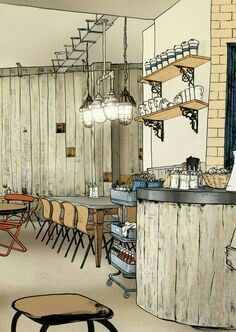 Interior Architecture Drawing, Plans Architecture, Drawing Interior, Interior Design Sketches, Interior Rendering, Architecture Design, Yellow Interior, Interior And Exterior, Cafe Design