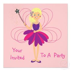 Just the thing for any little girl these cute pink and purple fairy party invitations all ready for you to personalize with your details.