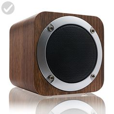 LEFON Wooden Bluetooth 4.0 Wireless Speaker with FM Radio 1800mAh Rechargable Battery Support AUX TF Card MP3 Player (Black Walnut) - Audio gadgets (*Amazon Partner-Link)