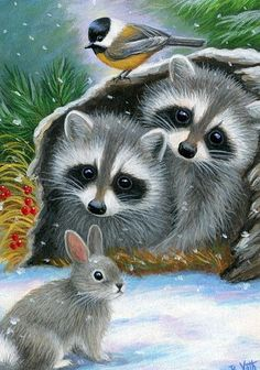 WOODLAND WINTER - These two little raccoons are telling their friends that there is room in the cozy log for them on a snowy winter day in the woods. Wildlife Paintings, Wildlife Art, Animal Paintings, Raccoon Art, Baby Animals, Cute Animals, Cute Fantasy Creatures, Cute Animal Drawings, Christmas Animals