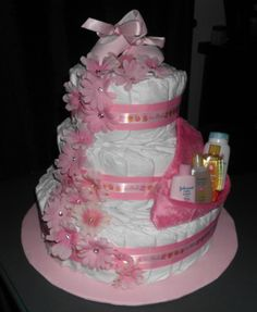 Sweet and simple diaper cake for a girl