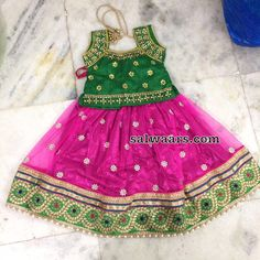 Pink and Green Shimmer Lehenga - Indian Dresses