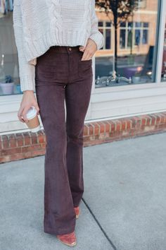 High waisted flare pants are a must have for fall! Super flattering and easy to wear!