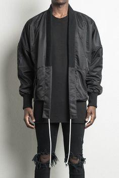 kimono bomber ii / black  mens designer kimono bomber jacket
