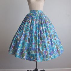 """I've had many Shaheens, but never a silk skirt . Just added this one to the Etsy shop. 27"""" waist #alfredshaheen #floralprint #50sskirt #vintagefashion #shaheen #50sfashion #thevintagestudio"""