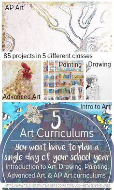 You won't have to plan a single day of the year in 5 of your art classes. 5 art curriculums 85 projects lesson plans handouts timelines supply lists presentations and much more. This covers Intro to Art Drawing Painting Advanced Art and AP Art. Art History Lessons, Art Lessons For Kids, Art For Kids, Middle School Art, Art School, School Days, School Stuff, Intro To Art, Handout
