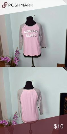 Super Cute Monday Blues Pink Baseball Tee In excellent condition! Really soft! Tops Tees - Long Sleeve