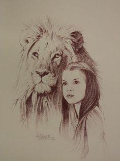 Aslan and Lucy Drawing. AAAAAAAAAAAWWWWWWWWWWWWEEEEEEEEEESSSSSSSSSOOOOOOOMMMMMMEEEEEE!!!!!!!!!!