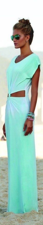 Minty dip dye maxi with twist knot cut out