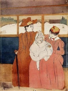 Mary Cassatt - Interior of a Tramway Passing a Bridge - 1890-1891