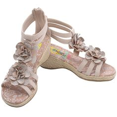 A cute pair of tan sandals with a rustic fancy flair, just perfect for your girl from Rachel Shoes. They feature classic rope braided thick platform and hidden wedge heel, T strappy design, glittery floral adornment. Dual ankle straps and back zipper clos