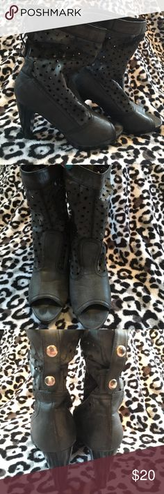 Cute open-toed heeled boots These open toed heeled boots are super cute, only worn once or twice Shoes Heeled Boots