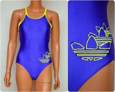 80s Neon, Vintage Adidas, Swim Dress, Orange And Purple, Swimsuits, Swimwear, Sportswear, Swimming