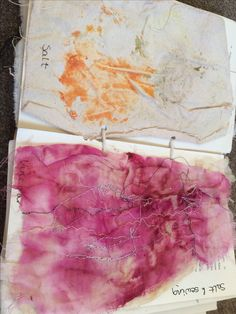 Integrating the drawing with thread mini project into the vegetable dying project by using a sewing machine to do a life drawing over a beetroot cooked in salt piece of fabric.