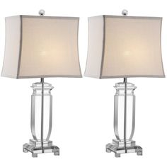 Safavieh Lighting 25 Inch Olympia Crystal Table Lamps Set Of 2 LIT4099A SET2 White Metal