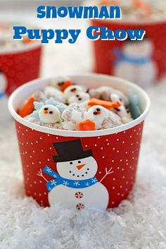 Snowman Puppy Chow is a fun simple snack made with Chex Cereal, peanut butter, powdered sugar, chocolate chips and a few simple royal icing transfers. Christmas Goodies, Christmas Treats, Holiday Treats, Holiday Recipes, Holiday Cookies, Christmas Desserts, Christmas Snowman, Christmas Recipes, Christmas Diy